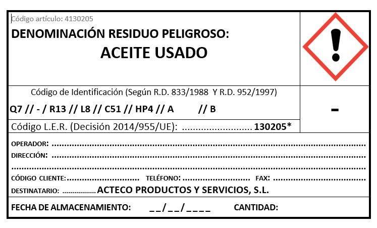 ETIQUETA ACTECO- RESIDUO